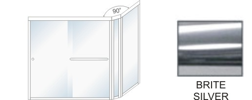 SE-5000D-L Heavy Duty Euro Style Shower Enclosure Size 60 inch wide x 70-3/4 inch high, Showerhead Left, Brite Silver.