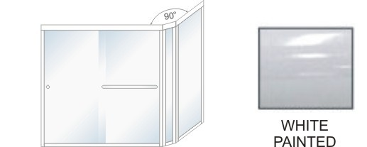 SE-5000D-L Heavy Duty Euro Style Shower Enclosure Size 60 inch wide x 70-3/4 inch high, Showerhead Left, White Painted.