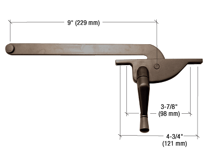 "CRL Bronze 9"" Right Hand Teardrop Series Casement Window Operator CRL 5009RHBRZ"