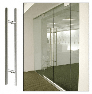 "CRL Polished Stainless 66"" Extra Length Ladder Style Back-to-Back Pull Handle CRL 66LPPS"