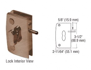 Antique Brass Glass Door Lock with Indicator for 5/16 inch to 1/2 inch Glass - CRL 700CABR