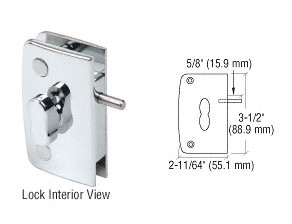 Chrome Glass Door Lock with Indicator for 5/16 inch to 1/2 inch Glass - CRL 700CCH