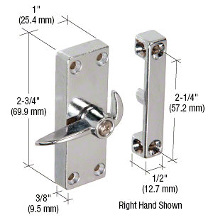 "CRL Chrome Sliding Screen Door Latch and Strike with 2-1/4"" Screw Holes CRL A103"