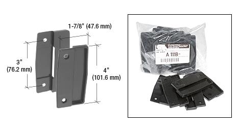"CRL Black Sliding Screen Door Plastic Pull Set with 3"" Screw Holes - Bulk CRL A111B"