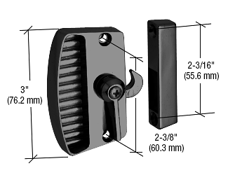 """CRL Black Sliding Screen Door Latch and Pull with 2-3/8"""" Screw Holes CRL A155"""