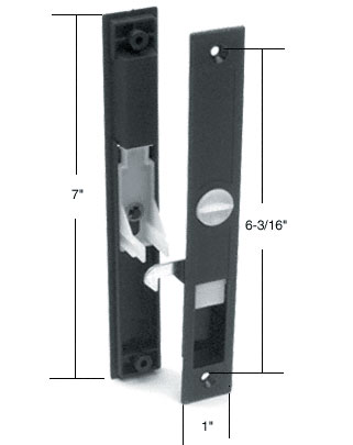 "Black Sliding Screen Door Latch and Pull With 6-3/16"" Screw Holes for Columbia 1"" Thick and Hat Section Extruded Screen Doors - CRL A179"