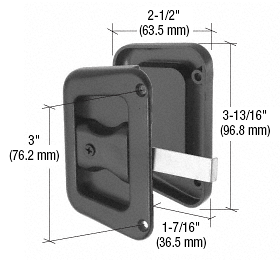 """CRL Black Sliding Screen Door Latch and Pull With 3"""" Screw Holes for Hat Section Doors CRL A187"""