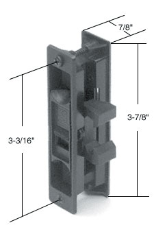 "Black Sliding Screen Door Latch and Pull With 3-3/16"" Screw Holes for Peachtree Doors - CRL A189"