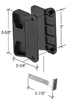 """CRL Black Sliding Screen Door Latch and Pull with 3"""" Screw Holes for Superior Aluminum Doors CRL A201"""