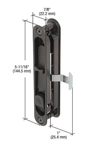 """CRL Black Sliding Screen Door Latch and Pull with 5-11/16"""" Screw Holes CRL A202"""