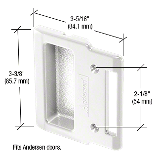 "CRL White Plastic Sliding Screen Door Inside Pull with 2-1/8"" Screw Holes for Andersen Doors CRL A208"