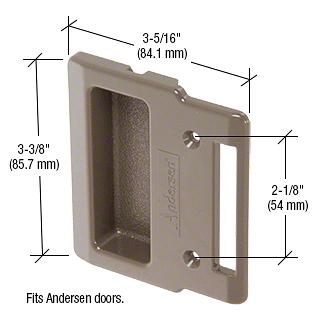 "CRL Stone Plastic Sliding Screen Door Inside Pull with 2-1/8"" Screw Holes for Andersen Doors CRL A209"