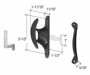 """CRL Black Sliding Screen Door Latch and Pull with 3-1/2"""" Screw Holes CRL A215"""