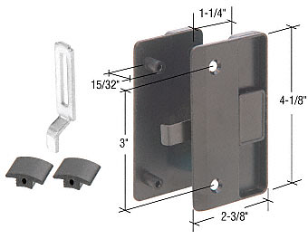 """CRL Black Sliding Screen Door Latch and Pull with 3"""" Screw Holes for 1/2"""" Thick Columbia Series 4000 Doors CRL A218"""