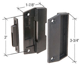"Black Sliding Screen Door Latch and Pull With 3"" Screw Holes - CRL AG301"