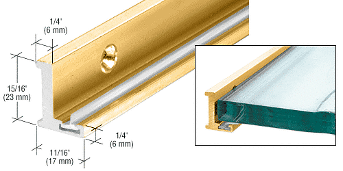 "CRL Brite Gold Anodized 98"" Aluminum Jamb With Clear Vinyl Wipe CRL AJ98BGA"