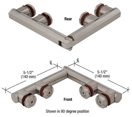 CRL Brushed Stainless Arctic 180 Series Glass-to-Glass Hinge CRL ARC180BS
