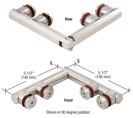 CRL Polished Stainless Arctic 180 Series Glass-to-Glass Hinge CRL ARC180PS