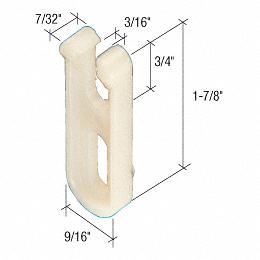 """CRL Sliding Screen Door 1-7/8"""" x 9/16"""" Nylon Top Guide for Crossly Doors CRL B589"""