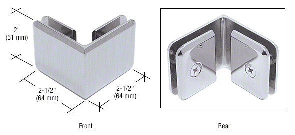 CRL Brushed Satin Chrome Beveled Style 90º Glass-to-Glass Clamp CRL BGC90BSC