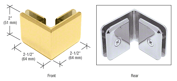 CRL Gold Plated Beveled Style 90º Glass-to-Glass Clamp CRL BGC90GP
