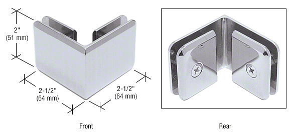 CRL Satin Chrome Beveled Style 90º Glass-to-Glass Clamp CRL BGC90SC