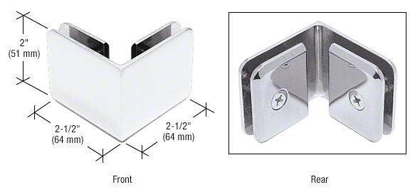 CRL White Beveled Style 90º Glass-to-Glass Clamp CRL BGC90W