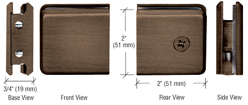 CRL Antique Bronze Beveled Style Notch-in-Glass Fixed Panel U-Clamp CRL BGCU1ABRZ