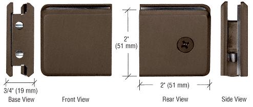 CRL Brushed Bronze Beveled Style Notch-in-Glass Fixed Panel U-Clamp CRL BGCU1BBRZ