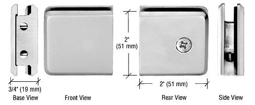 CRL Brushed Satin Chrome Beveled Style Notch-in-Glass Fixed Panel U-Clamp CRL BGCU1BSC