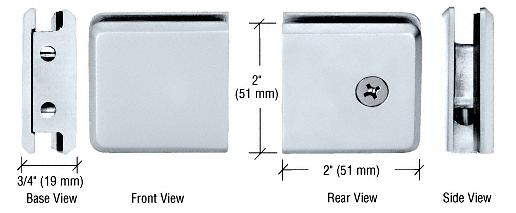 CRL Polished Chrome Beveled Style Notch-in-Glass Fixed Panel U-Clamp CRL BGCU1CH