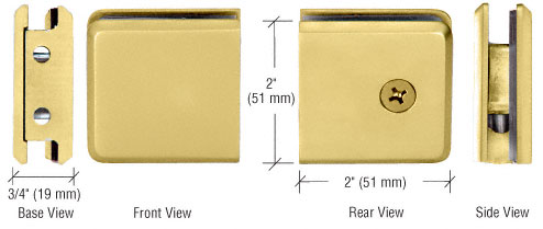 Gold Plated Beveled Style Notch-in-Glass Fixed Panel U-Clamp - Two Wall Mount Screw Holes - CRL BGCU1GP