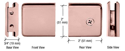 CRL Polished Copper Beveled Style Notch-in-Glass Fixed Panel U-Clamp CRL BGCU1PC0