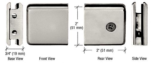 CRL Polished Nickel Beveled Style Notch-in-Glass Fixed Panel U-Clamp CRL BGCU1PN