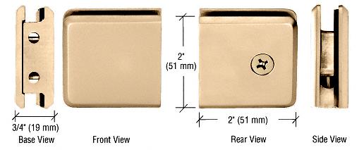 CRL Satin Brass Beveled Style Notch-in-Glass Fixed Panel U-Clamp CRL BGCU1SB