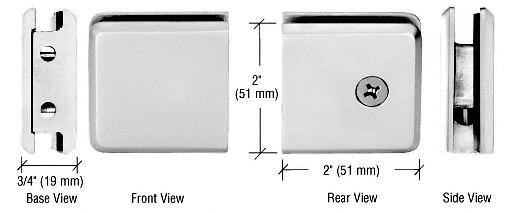 CRL Satin Chrome Beveled Style Notch-in-Glass Fixed Panel U-Clamp CRL BGCU1SC