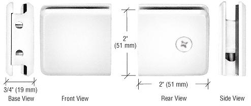 CRL White Beveled Style Notch-in-Glass Fixed Panel U-Clamp CRL BGCU1W