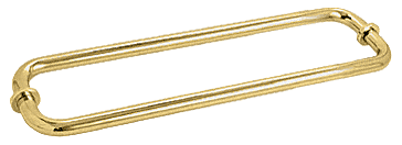 "CRL Polished Brass 12"" BM Series Back-to-Back Tubular Towel Bars With Metal Washers CRL BM12X12BR"
