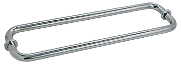 "CRL Polished Nickel 12"" BM Series Back-to-Back Tubular Towel Bars With Metal Washers CRL BM12X12PN"