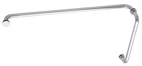 Brushed Satin Chrome (BM Series) 12 inch Pull Handle 24 inch Towel Bar Combination with Metal Washers - CRL BM12X24BSC