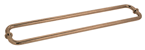 "CRL Antique Brass 24"" BM Series Back-to-Back Tubular Towel Bars With Metal Washers CRL BM24X24ABR"