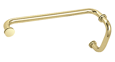 "CRL Polished Brass 6"" Pull Handle and 12"" Towel Bar BM Series Combination With Metal Washers CRL BM6X12BR"