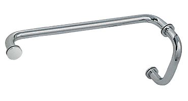 "CRL Polished Nickel 6"" Pull Handle and 12"" Towel Bar BM Series Combination With Metal Washers CRL BM6X12PN"