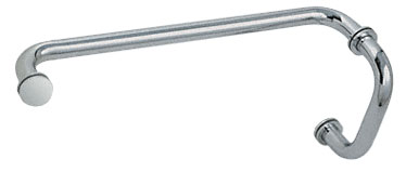 Satin Chrome (BM Series) 6 inch Pull Handle 12 inch Towel Bar Combination with Metal Washers - CRL BM6X12SC
