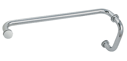 """CRL Satin Chrome 6"""" Pull Handle and 18"""" Towel Bar BM Series Combination With Metal Washers CRL BM6X18SC"""