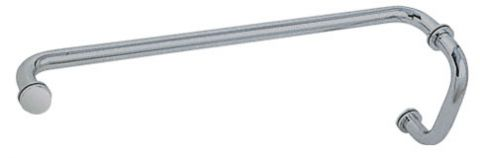 Brushed Satin Chrome (BM Series) 6 inch Pull Handle 24 inch Towel Bar Combination with Metal Washers - CRL BM6X24BSC