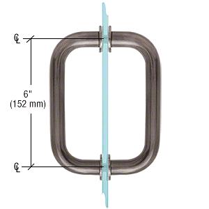 "CRL Antique Brushed Nickel 6"" BM Series Tubular Back-to-Back Pull Handle CRL BM6X6ABN"