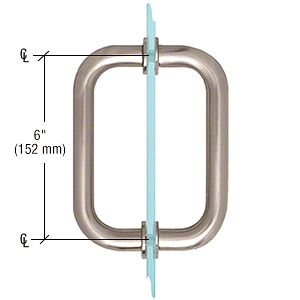 "CRL Brushed Nickel 6"" BM Series Tubular Back-to-Back Pull Handle CRL BM6X6BN"