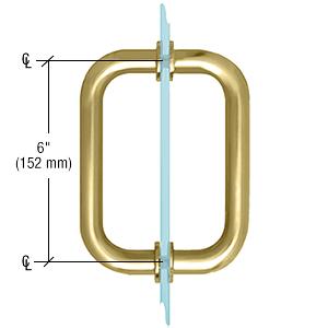 "CRL Satin Brass 6"" BM Series Tubular Back-to-Back Pull Handle CRL BM6X6SB"