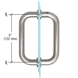 """CRL Satin Chrome 6"""" BM Series Tubular Back-to-Back Pull Handle CRL BM6X6SC"""